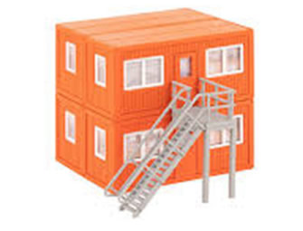 HO 4 Building Site Containers - orange