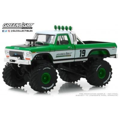 1/43 1974 Ford F-250 Monster Truck- #19 Greenlight Racing Green/White