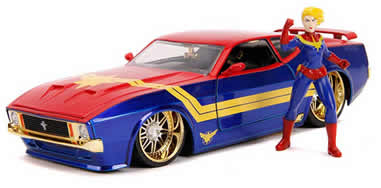 1/24 1973 Ford Mustang Mach 1 with Captain Marvel Diecast Figurine