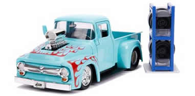 1/24 1956 Ford F-100 Pickup Truck Turquoise with Red Flames with Extra Wheels