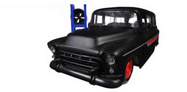 1/24 1947 Chevrolet Suburban Matt Black Red Just Trucks with Extra Wheels