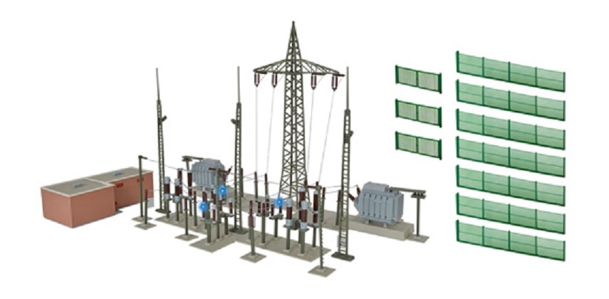 HO Electrical Substation w/electric ligh