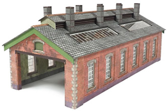 N Brick Double Track Engine Shed kit