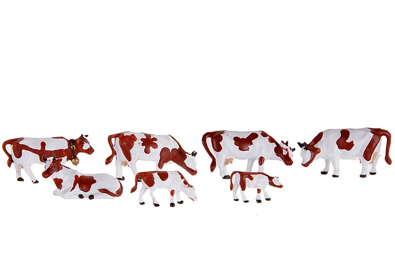 HO Brown & White Cows