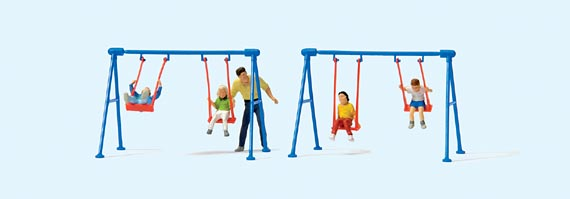 HO Children playing on swing + adult