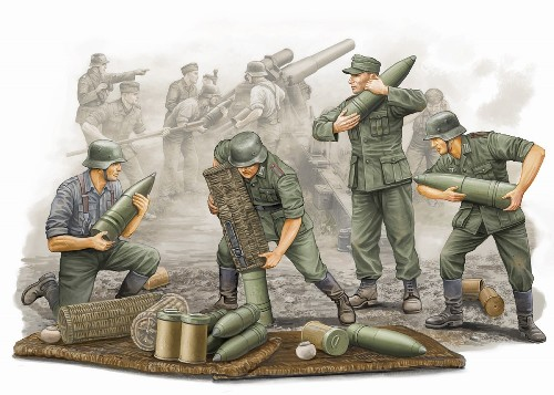 1/35 Germ.Field HowitzerCarrying Crew(4)