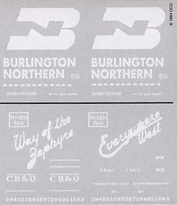 BN & CB&Q Boxcars decals